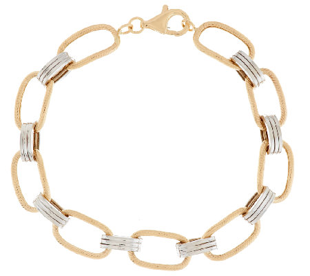 """As Is"" 14K Gold 6-3/4"" Two-Tone Textured Link Bracelet, 3.5g"