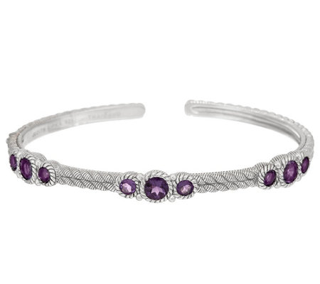 Judith Ripka Sterling Gemstone Hinged Cuff