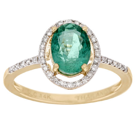 1.00 ct Zambian Emerald & Diamond Ring 14K Gold