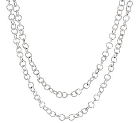 "Judith Ripka Sterling 52"" Verona Circle Link Chain Necklace"