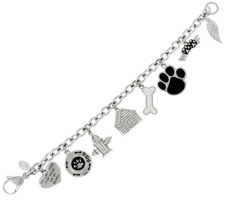 Stainless Steel Dog Motif Charm Bracelet