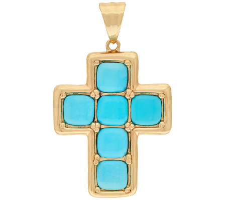 14K Gold Sleeping Beauty Turquoise Cross Pendant