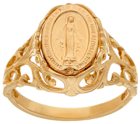 14K Gold Polished Miraculous Medal Ring