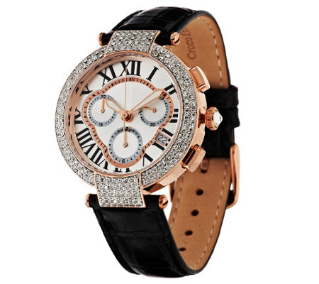 """As Is"" Bronzo Italia Crystal Bezel Chronograph Leather Watch"