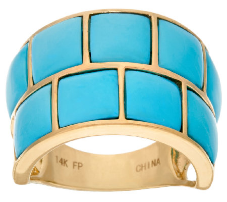 Sleeping Beauty Turquoise Carved Wide Band Ring 14K Gold