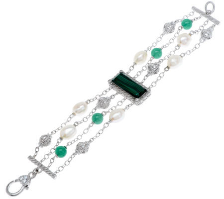"""As Is"" Judith Ripka Sterling Small Malachite Multi-Gemstone Bracelet"