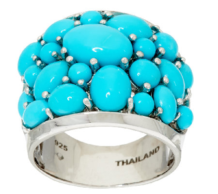 """As Is"" Sleeping Beauty Turquoise Bold Cluster Design Sterling Ring"