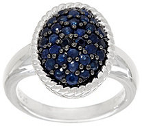 Ruby, Emerald or Sapphire Sterling Silver Oval Pave' Ring 0.75 cttw - J328859