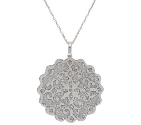 """As Is"" Vicenza Silver Sterling Pave' Glitter Scroll Overlay Pendant w/Chain"