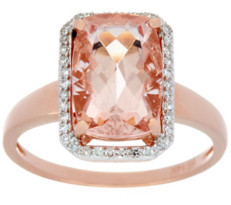 Elongated Cushion Cut Morganite & Diamond Ring 14K Gold
