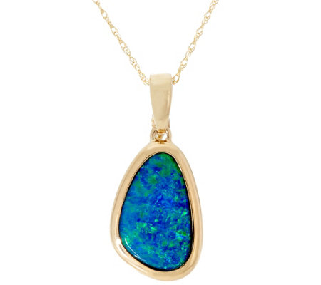 "Australian Opal Doublet Enhancer on 18"" Chain 14K Gold"
