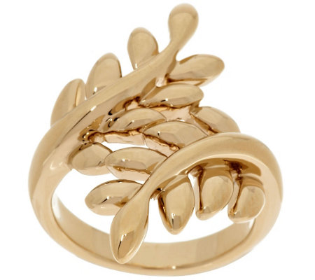 """As Is"" 14K Gold Polished Leaf Design Bypass Ring"