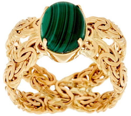 """As Is"" 14K Gold Malachite Byzantine X-Ring"