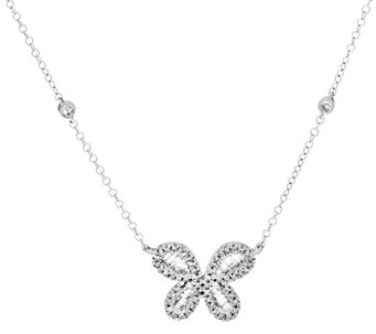 """As Is"" Diamond Butterfly Necklace, Sterling, 1/2 cttw, Affinity - J333359"