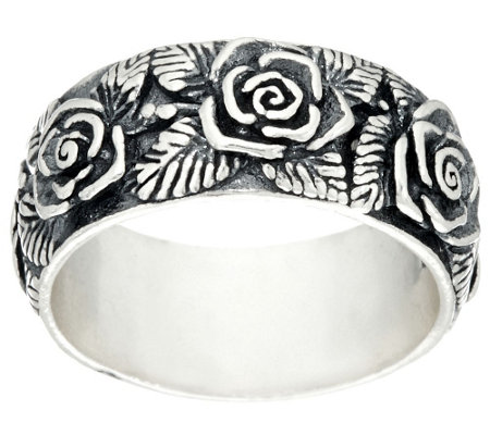 """As Is"" Sterling Silver Gathered Rose Band Ring by Or Paz"
