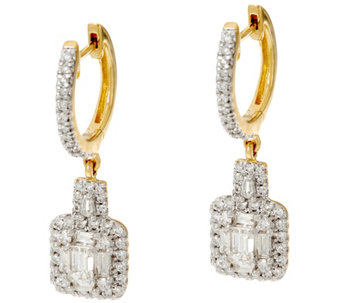 Round & Emerald Cut Diamond Earring 14K, 1.00 cttw, by Affinity - J333659