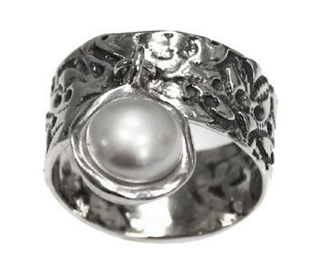Or Paz Sterling Cultured Pearl Charm Ring - J336359