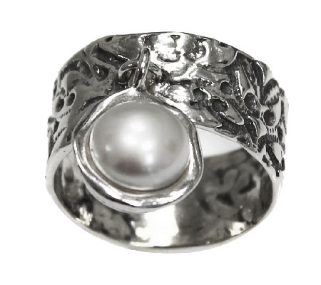 Or Paz Sterling Cultured Pearl Charm Ring