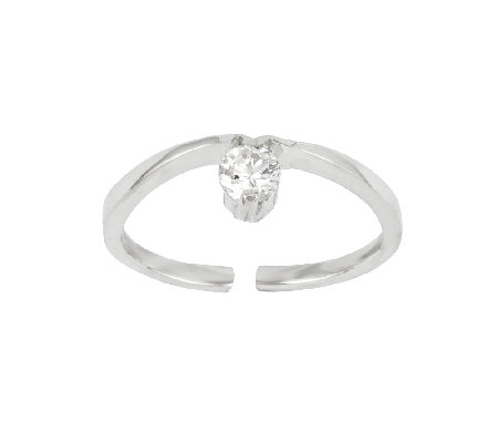 Sterling Simulated Diamond Toe Ring