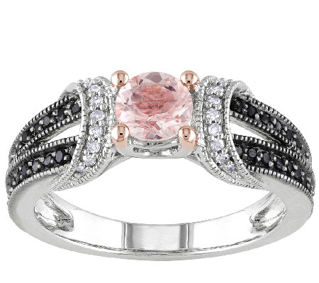 Morganite & Black Diamond Split Shank Ring, Sterling