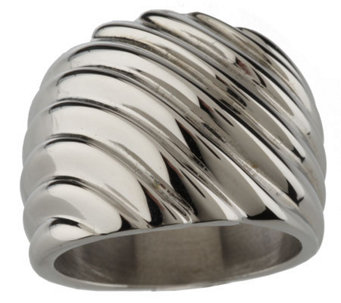 Stainless Steel Bold Graduated Ribbed Design Ring - J337559