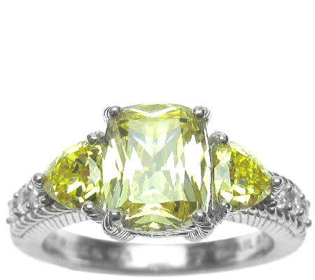 Judith Ripka Sterling 3-Stone Yellow Diamonique Ring