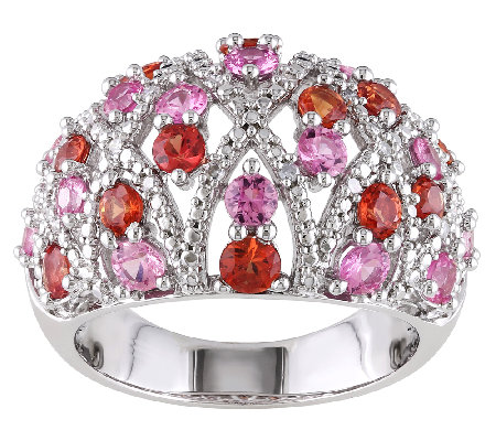 2.60cttw Pink & Orange Sapphire Dome Ring, Sterling