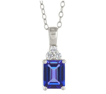 Premier Emerald Cut 1.10cttw Tanzanite & Diamond Pendant,14K - J338259