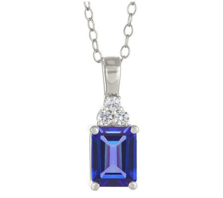 Premier Emerald Cut 1.10cttw Tanzanite & Diamond Pendant,14K
