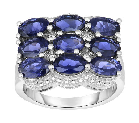 3.00 cttw Iolite East West Ring, Sterling