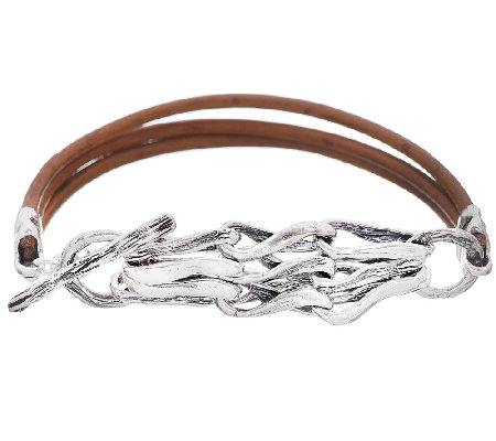 Hagit Sterling Links and Leather Bracelet