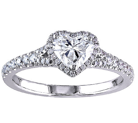 Diamond Heart Halo Ring, 1cttw, 14K White Gold,by Affinity