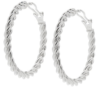 "UltraFine Silver 1-3/4"" Twisted Omega Back HoopEarrings - J339959"