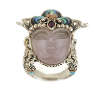 Barbara Bixby Sterling/18K Gemstone Quan Yin Ring - J340059
