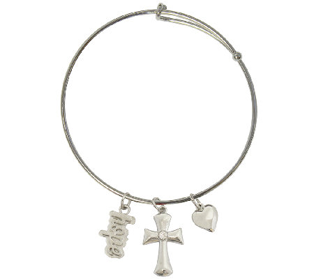 Catherine Galasso Faith, Hope, and Love Adjustable Bangle