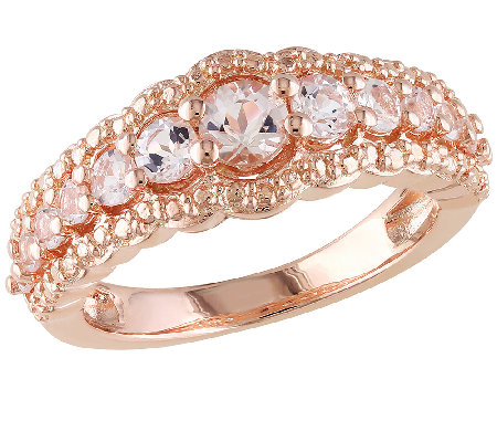 1.00cttw Morganite Band Ring, Sterling & 14K Rose-Plated