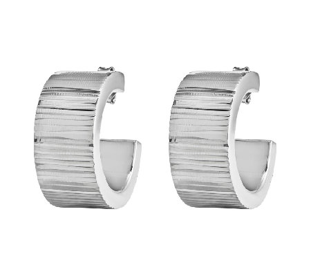 "Sterling Ribbed 7/8"" Hoop Earrings"