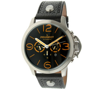 Peugeot Men's Automatic Leather Strap Watch - J341159