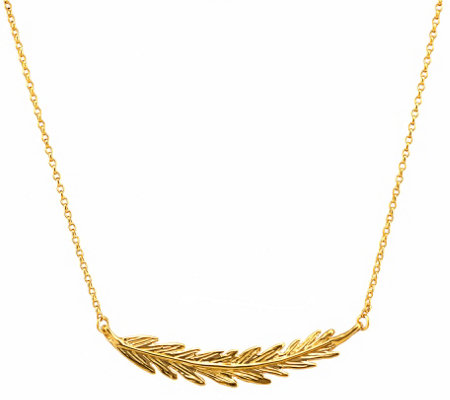 Hagit Sterling and 14K Clad Feather N ecklace