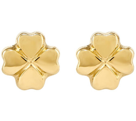 Four-Leaf Clover Post Earrings, 14K Yellow Gold