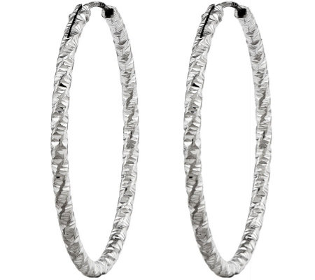 Sterling Diamond-Cut Endless Hoop Earrings bSilver Style