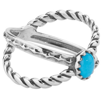 "American West Sterling Sleeping Beauty Turquoise ""X"" Ring - J342659"