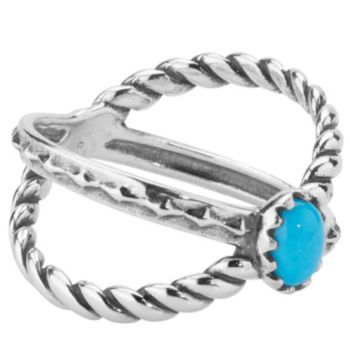 American West Sterling Sleeping Beauty Turquoise X Ring