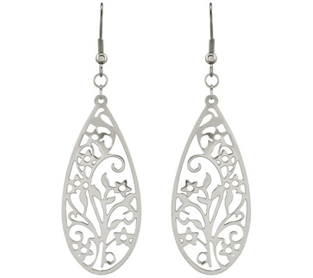 Steel by Design Filigree Teardrop Wire Earrings