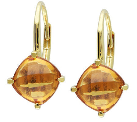 Sterling 4.00 cttw Cushion Cut Citrine Earrings