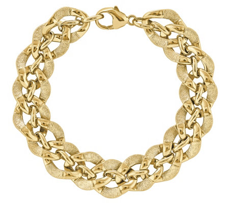 "14K Gold Oval Wavy Link Fancy 7-3/4"" Bracelet"