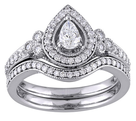 Pear & Round Diamond 2-Piece Ring Set, 5/8 cttw, by Affinity