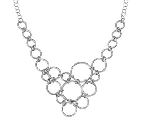 "Sterling Cut-Out Circle Bib 18-1/2"" Necklace"