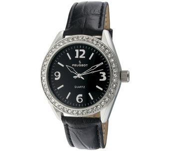 Peugeot Women's Crystal Bezel Black Leather Watch - J344559