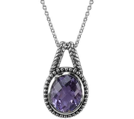 "2.95 ct Amethyst Pendant with 18"" Chain, Sterling"